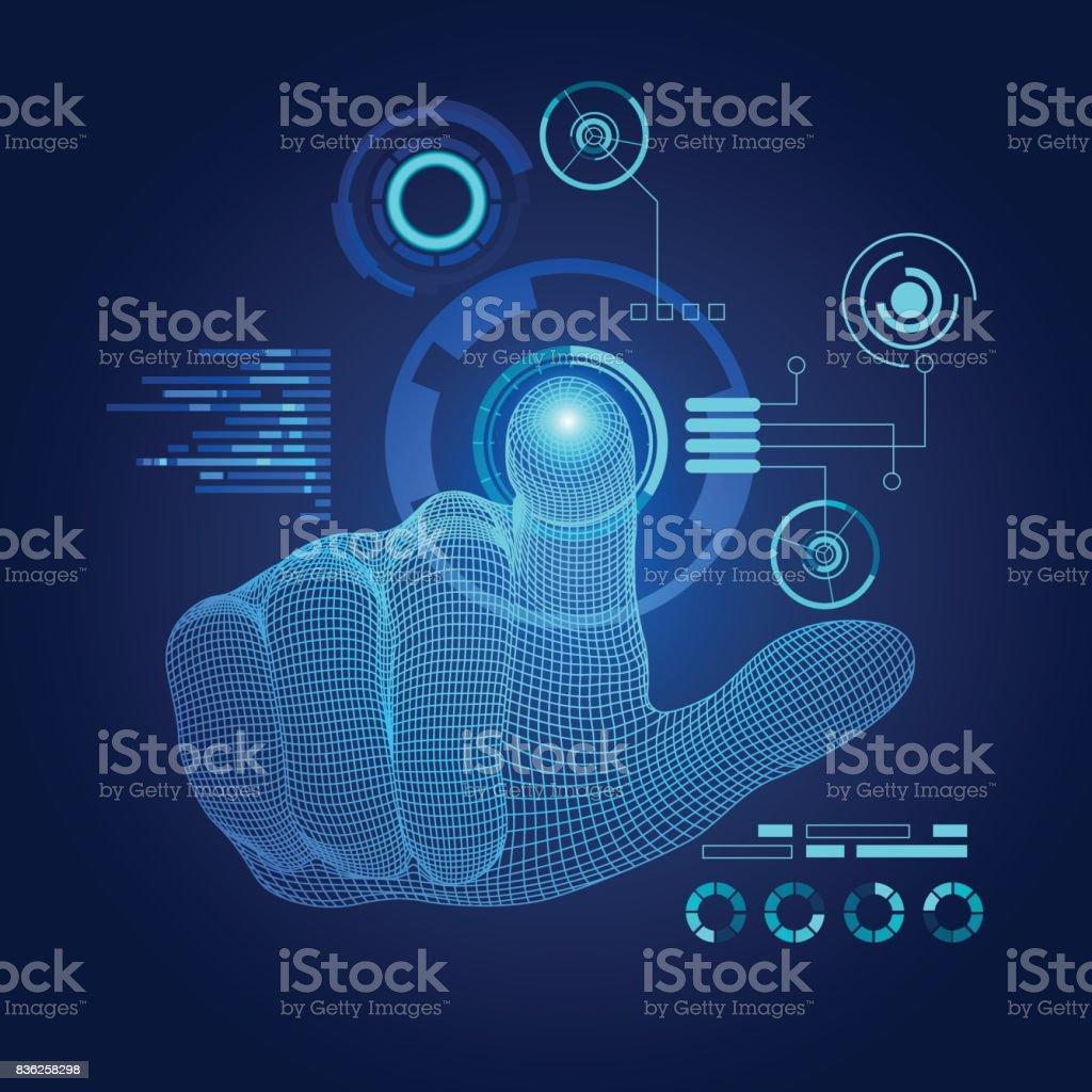 touch screen vector art illustration