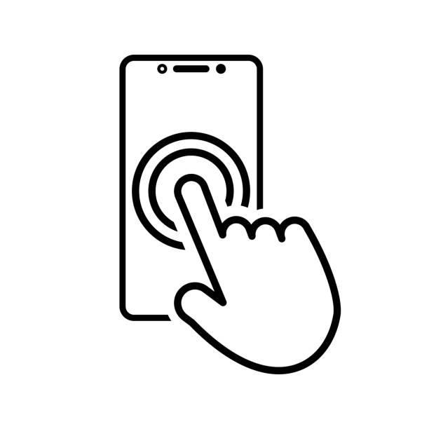 ilustraciones, imágenes clip art, dibujos animados e iconos de stock de icono táctil de smartphone con la mano para tus proyectos - física