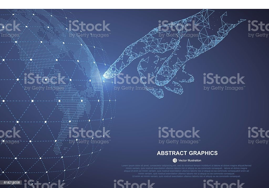 Touch the future. vector art illustration