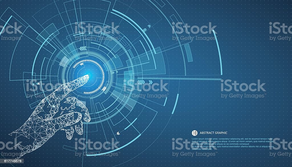 Touch the future,Interface technology, the future of user experience. vector art illustration