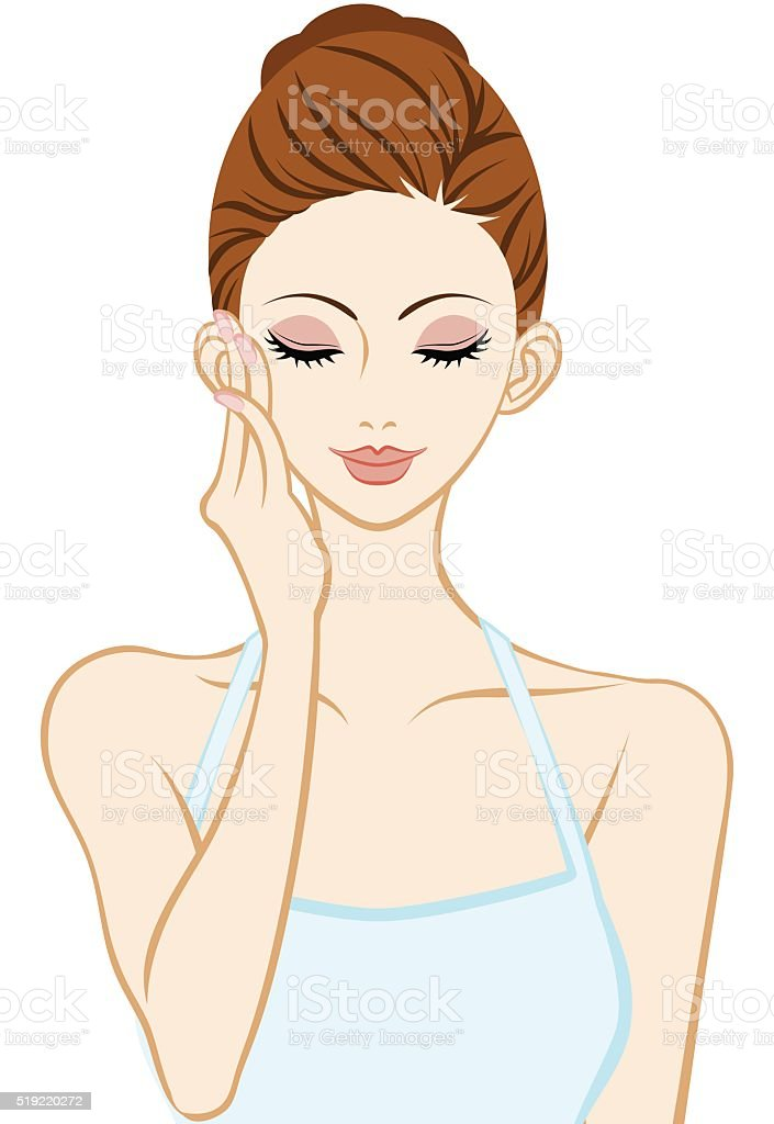Touching Cheek - Skin care - Closed eyes vector art illustration