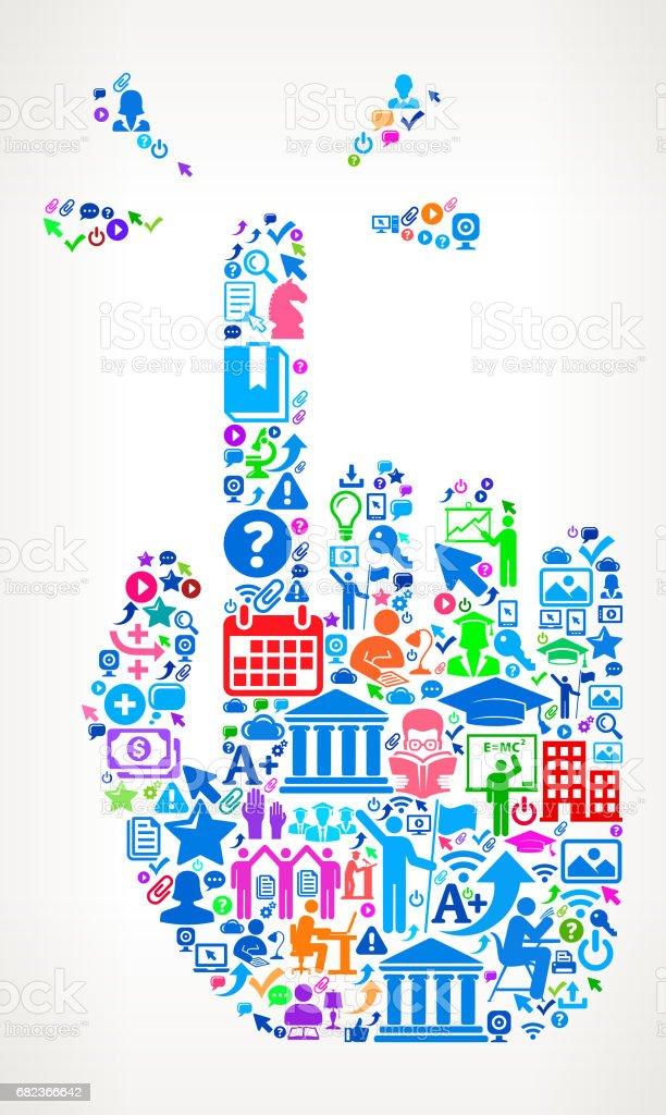 Ontroerende Hand Modern onderwijs en College graden pictogram patroon royalty free ontroerende hand modern onderwijs en college graden pictogram patroon stockvectorkunst en meer beelden van 20-24 jaar