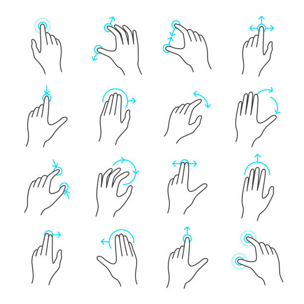 touchscreen gesture icon set - hand holding phone stock illustrations