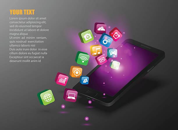 タッチスクリーンのスマートフォンアプリケーションのアイコンとます。 ベクターアートイラスト