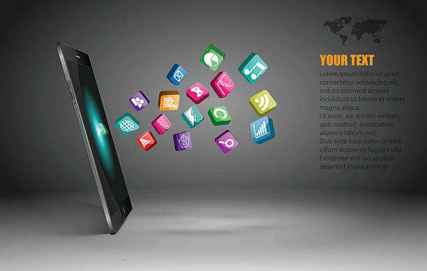 touchscreen smartphone with application icons,vector - 3d icons stock illustrations, clip art, cartoons, & icons