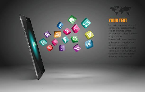 Smartphone Touchscreen com vetor ícones de aplicativo - ilustração de arte em vetor