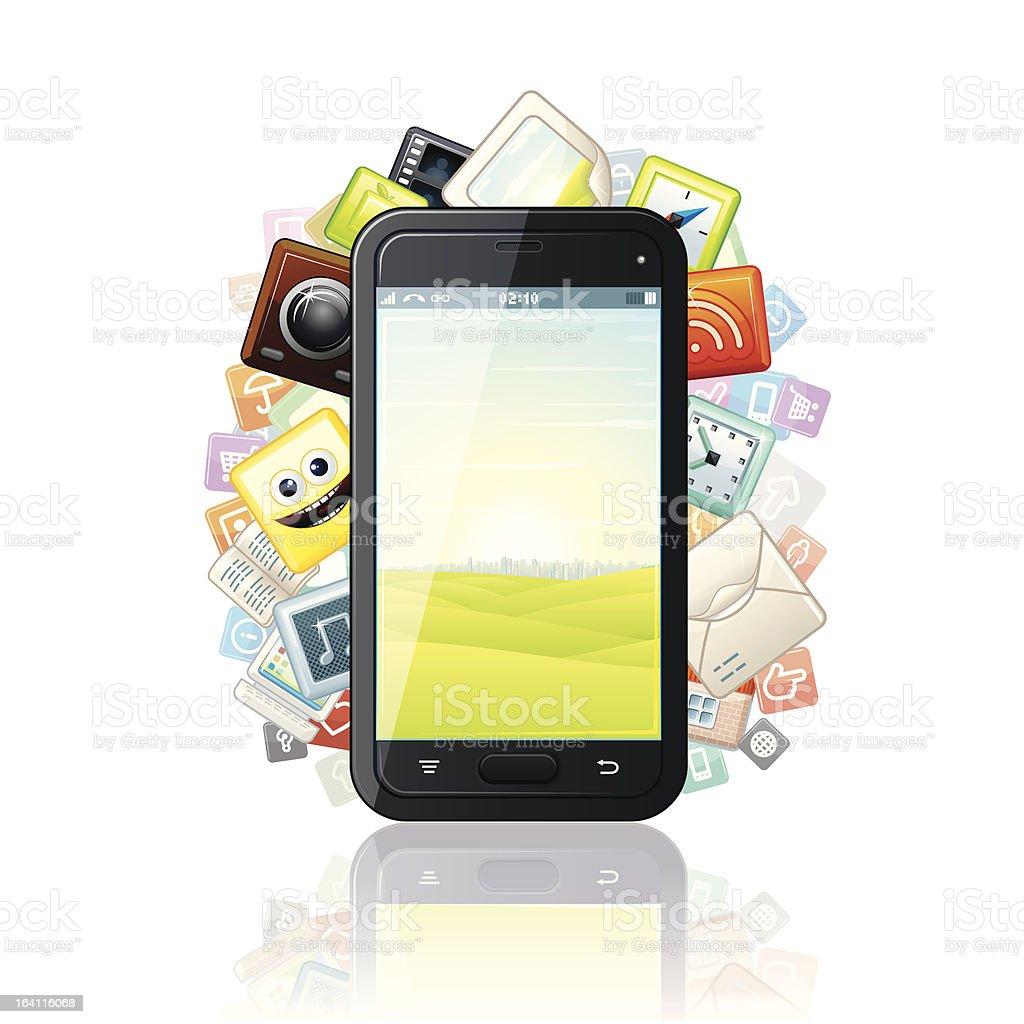 Touchscreen Smartphone with Media Apps Icons. royalty-free stock vector art