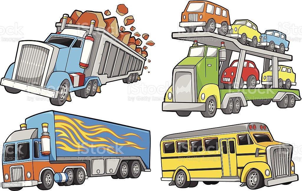Tough Big Trucks Set royalty-free tough big trucks set stock vector art & more images of bus