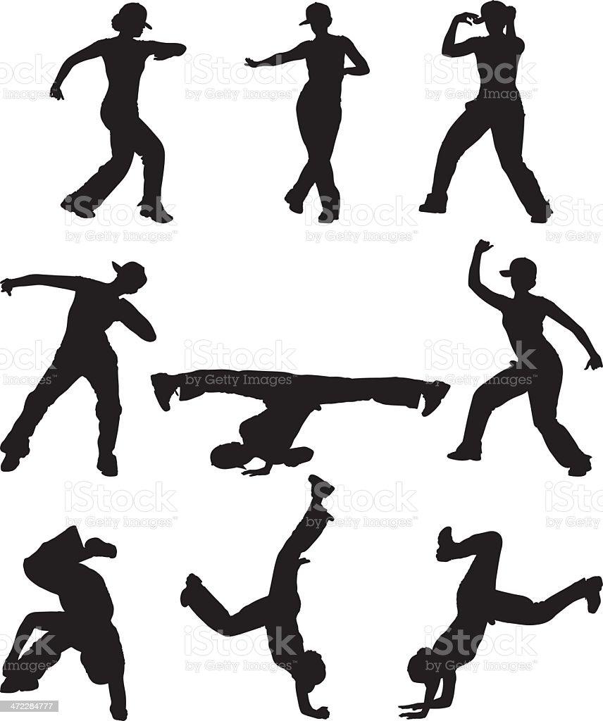 Tough chick dancing hip hop royalty-free stock vector art