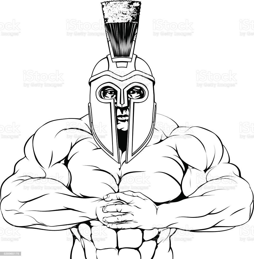 Wytrzymałe Trojańskie Spartan Lub Gladiator Stockowe Grafiki