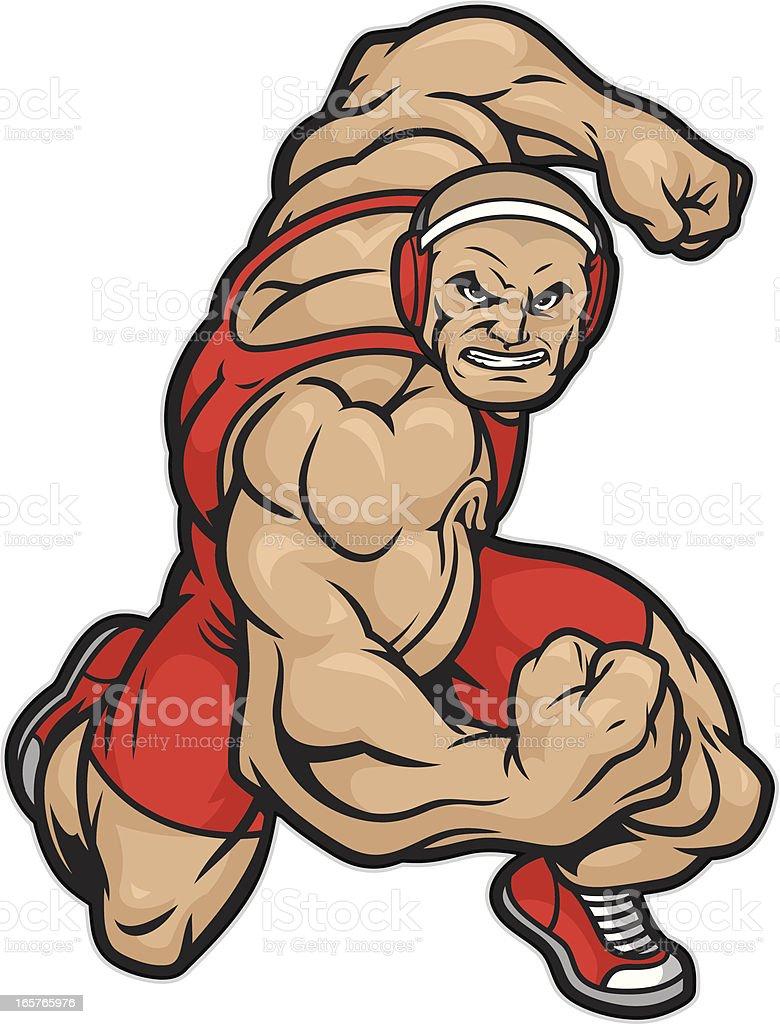 Tough Wrestler ready to wrestle. vector art illustration