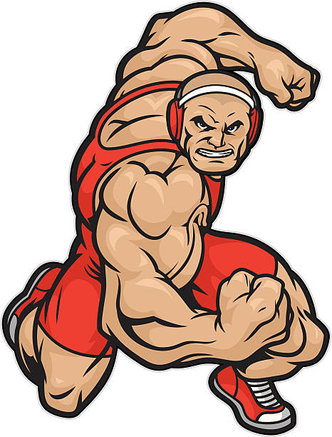 tough wrestler ready to wrestle. - wrestling stock illustrations, clip art, cartoons, & icons