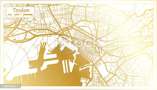 istock Toulon France City Map in Retro Style in Golden Color. 1304303771