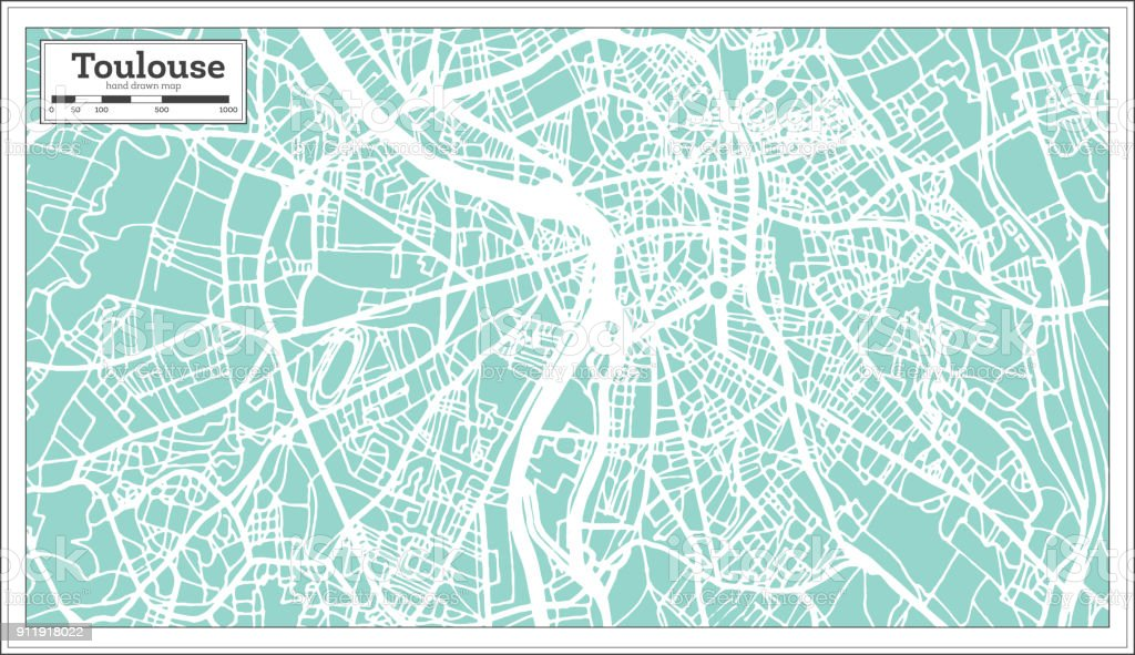 Toulouse France City Map In Retro Style Outline Map Stock Vector Art
