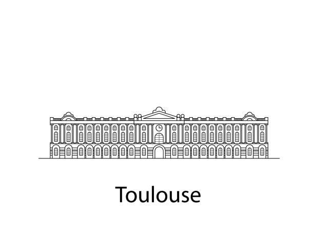 Toulouse ist Frankreich. Wahrzeichen der Stadt in den Zeilen. Der Vektor in der Wohnung – Vektorgrafik
