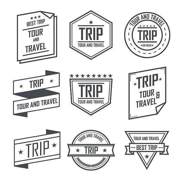 biuro informacji turystycznej i podróży etykiety i naklejki w stylu retro godło design. - pieczęć znaczek stock illustrations