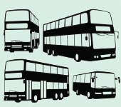 Silhouette of Tour Bus and Double Decker Bus. Zip contains AI and Hi-res jpeg.