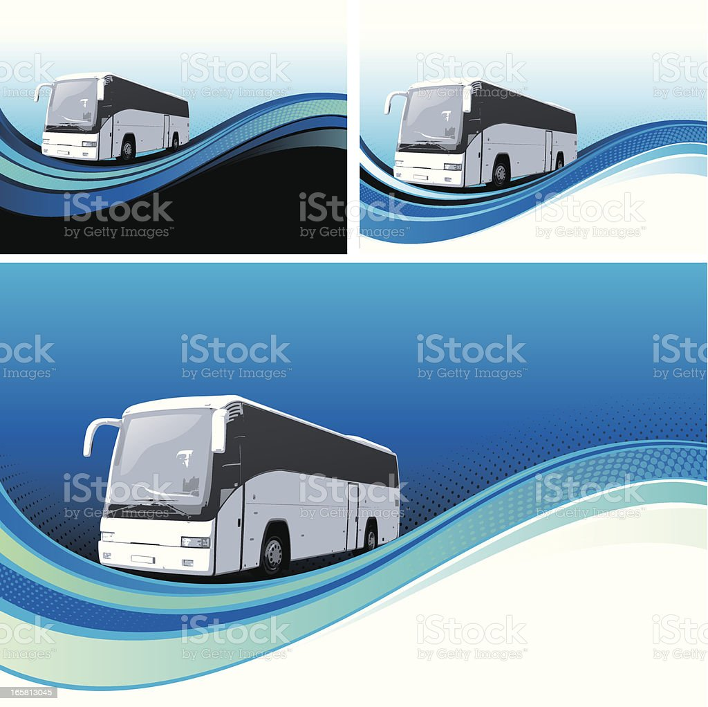 Tour bus background vector art illustration