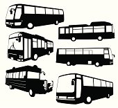 A set of tour bus silhouette. Zip contains AI and PDF formats.