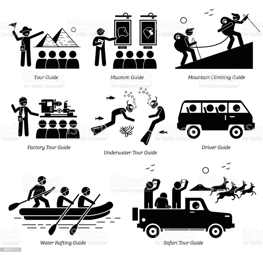 Tour Guide Jobs and Careers. vector art illustration