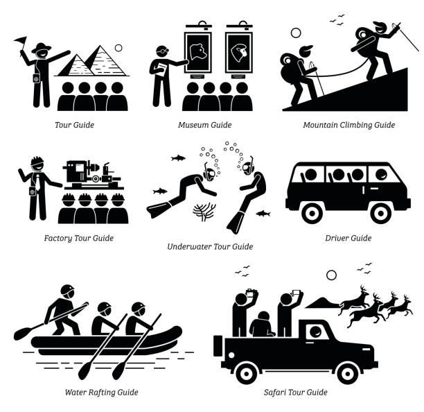 tour-guide-jobs und karriere. - tour bus stock-grafiken, -clipart, -cartoons und -symbole