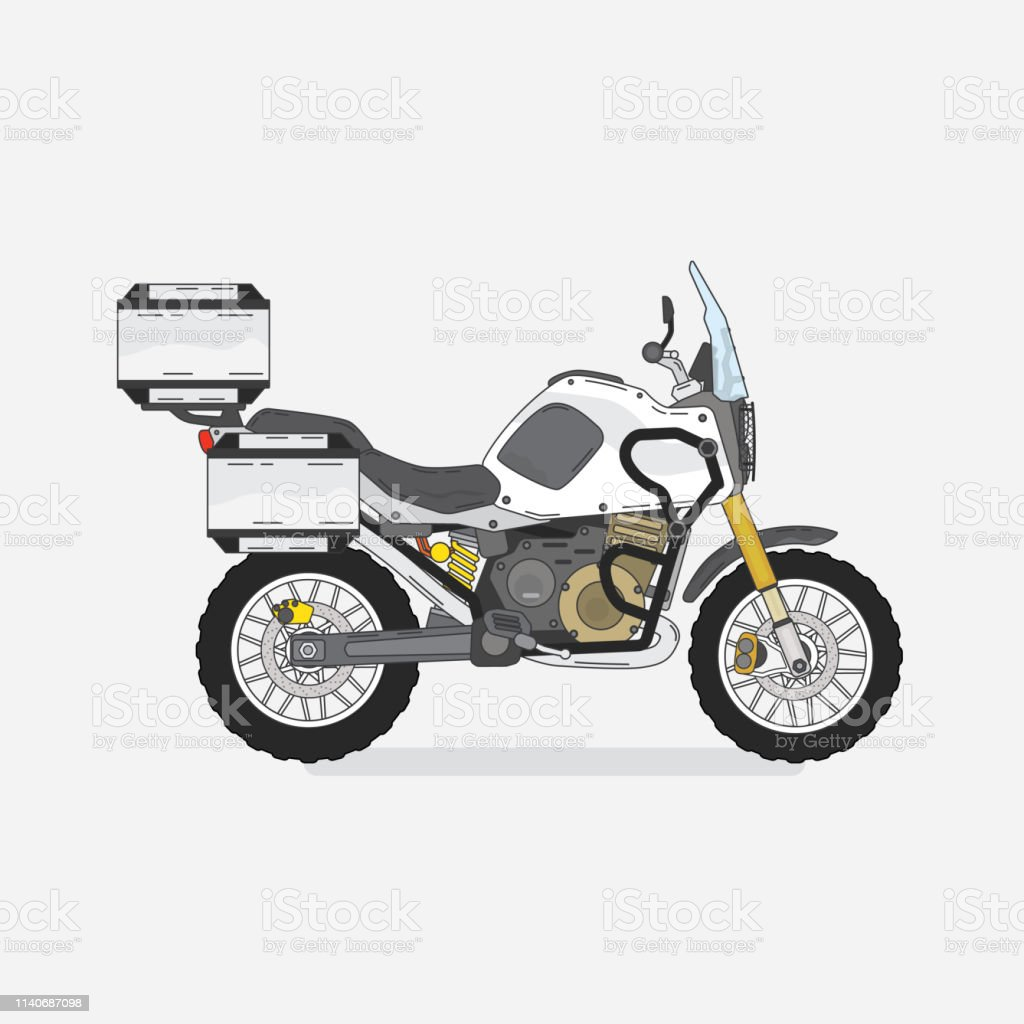 touring motorcycle with out line graphic