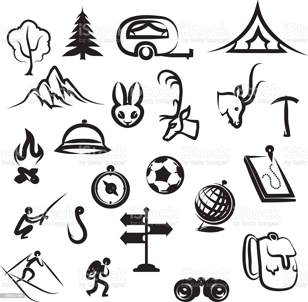 Tourism and camping icons vector art illustration