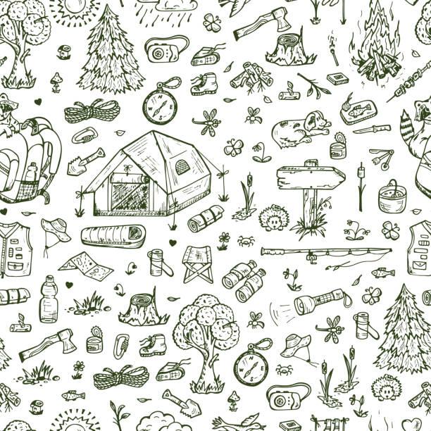 bildbanksillustrationer, clip art samt tecknat material och ikoner med tourism and camping seamless pattern. hand drawn doodle vector illustration - hund skog