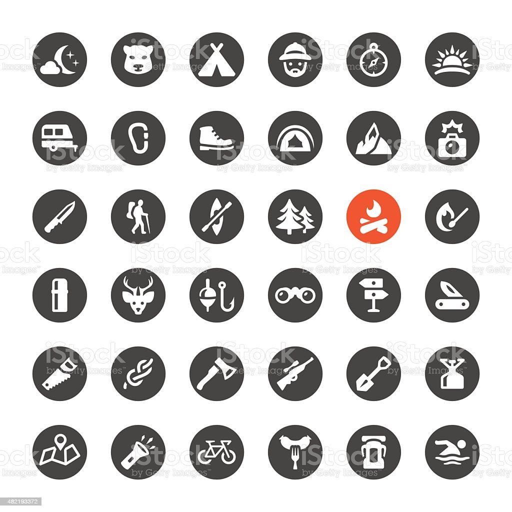 Tourism and Camping vector icons vector art illustration