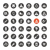 Tourism and Camping vector icons