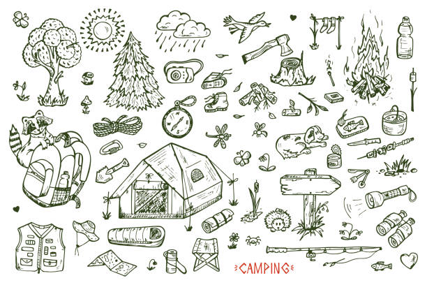 Tourism and camping vector set. Hand drawn doodle Camping Elements Tourism and camping set. Hand drawn doodle Camping Elements vector illustration adventure drawings stock illustrations