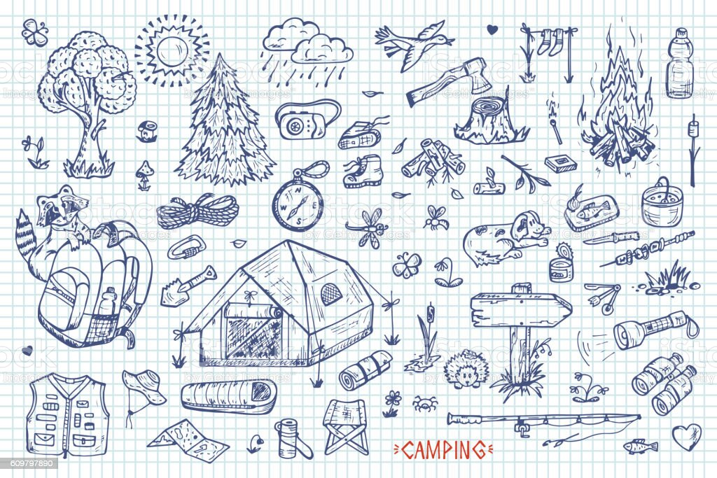 Tourism and camping vector set. Hand drawn doodle Camping Elements vector art illustration