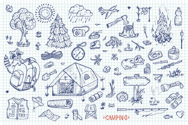 tourism and camping vector set. hand drawn doodle camping elements - キャンプする点のイラスト素材/クリップアート素材/マンガ素材/アイコン素材