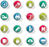 Tourism and Holiday icons over colored background