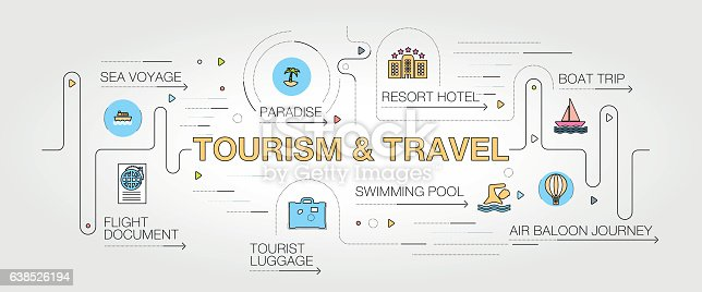 Tourism and Travel banner and icons