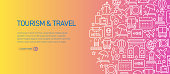 Tourism and Travel Banner Template with Line Icons. Modern vector illustration for Advertisement, Header, Website.
