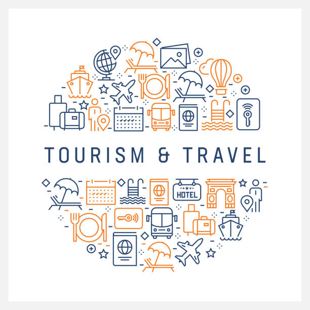 0205d3ee9 Tourism and Travel Concept - Colorful Line Icons