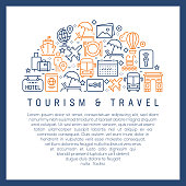 Tourism and Travel Concept - Colorful Line Icons, Arranged in Circle