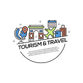 Tourism and Travel Concept Flat Line Icons