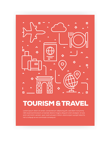 Tourism and Travel Concept Line Style Cover Design for Annual Report, Flyer, Brochure.