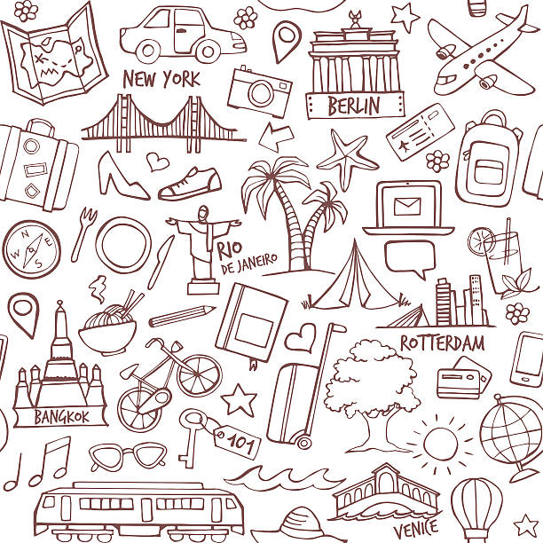 stockillustraties, clipart, cartoons en iconen met tourism and travel destination seamless pattern - rotterdam