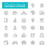 Hiking, Travel, Bus, Luggage, Internet, Ticket Editable Line Icon Set