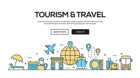 Tourism and Travel Flat Line Web Banner Design