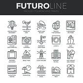 Tourism and Travel Futuro Line Icons Set