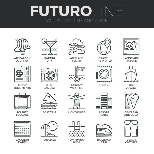 tourism and travel futuro line icons set - save the date calendar stock illustrations, clip art, cartoons, & icons
