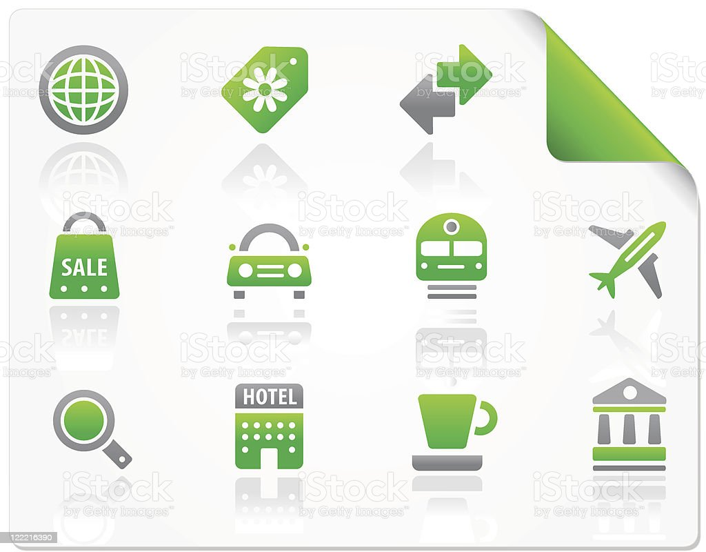 Tourism and travel icon set royalty-free stock vector art