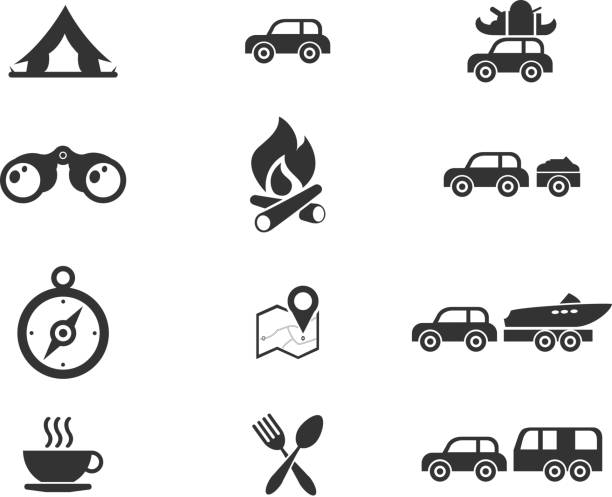 Tourism and Travel Icons vector art illustration