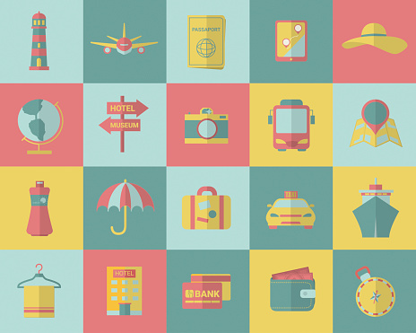 Tourism and travel icons. Vector illustration