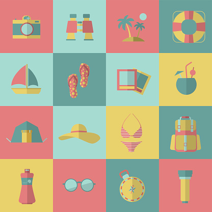 Tourism and travel icons. Vector ilustration