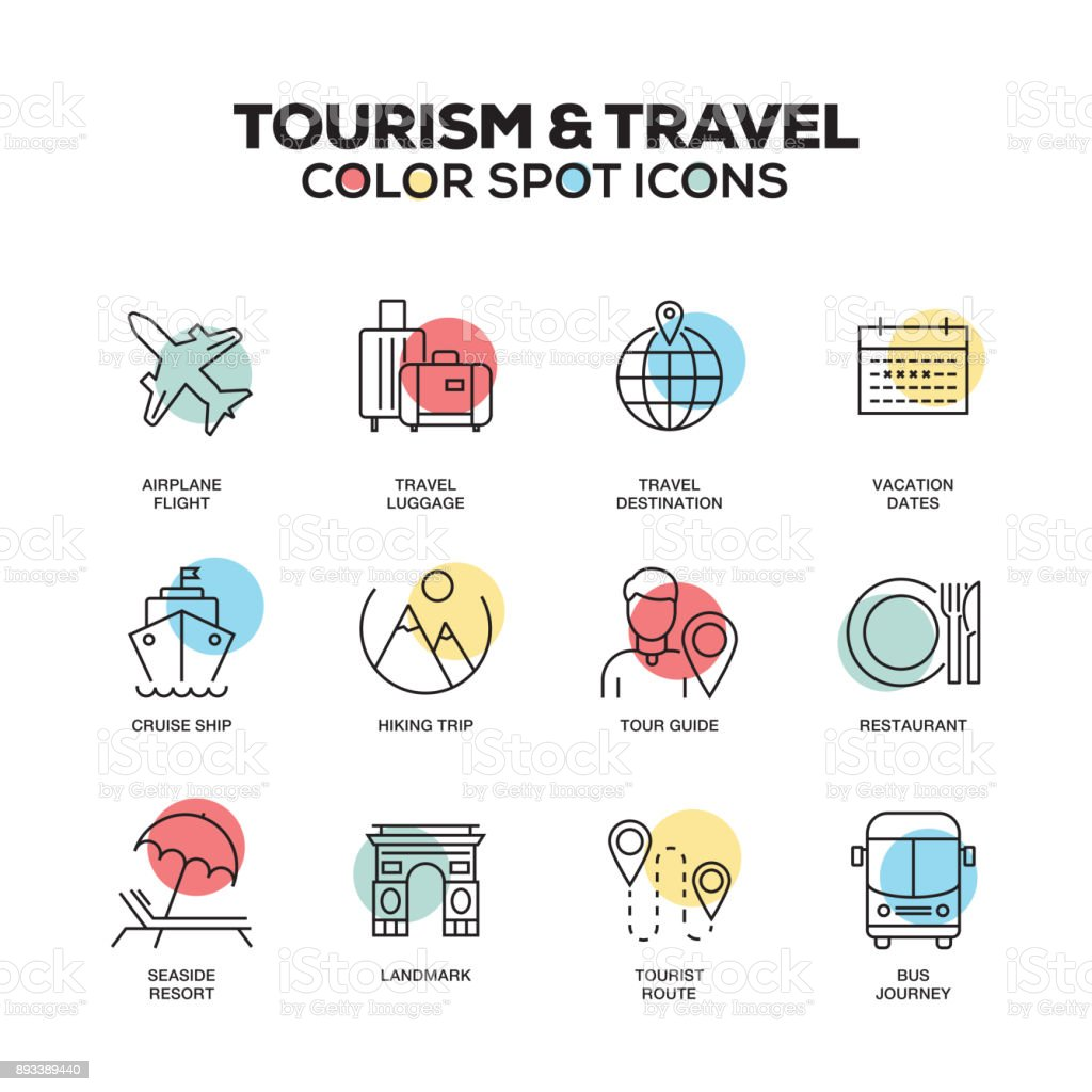 Tourism and Travel icons. Vector line icons set. Premium quality. Modern outline symbols and pictograms. vector art illustration